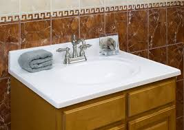vanity tops stainless steel brown porcelain backsplash tile white granite countertop mounted washb
