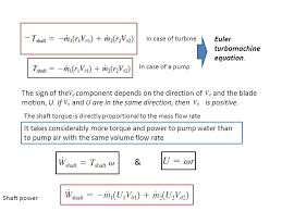 volume flow rate shaft power euler turbomachine equation introduction to fluid machines centrifugal pump ppt