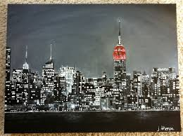 manhattan new york skyline painting black and white with red empire state building