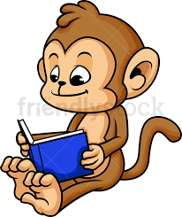 monkey cartoon reading book png jpg and vector eps infinitely scalable