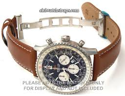 brown leather watch strap white stitching on erfly deployant clasp for breitling navitimer