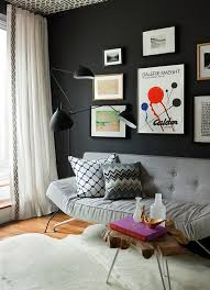 Wallpapered office home design Accent Home Office By Jenny Wolf With Charcoal Grey Walls Wallpapered Ceiling Modern Furnishings Cococozy Modern Home Office Designer Room Recreate Cococozy