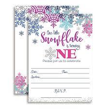 Snowflake Birthday Invitations Purple Aqua Winter Snowflake 1st Birthday Party Invitations