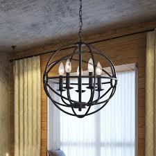 industrial lighting fixtures for kitchen fabulous benita 5 light antique black metal strap globe chandelier