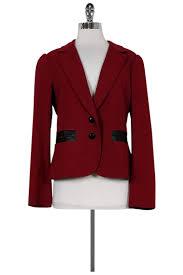 yoana baraschi red leather trim blazer sz 10