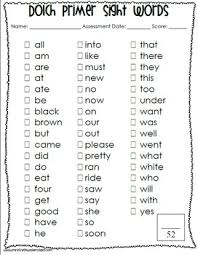 Dolch Sight Word Lists And Sentence Assessment Sheets By Melissa