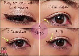 thefabzilla how to easy cat eyes using liquid eyeliner 3 steps