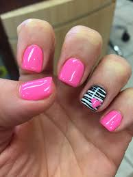 Girly Nail Designs For Short Nails Gel Mani Shellac Zebra Pink Valentine Nails Polish February