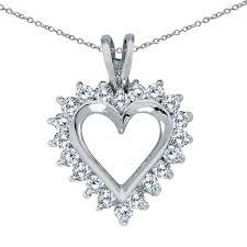 direct jewelry 14k white gold diamond heart pendant with 18 chain com