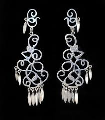 vintage mexican silver chandelier earrings extra long and elaborate