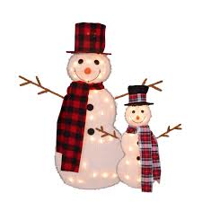 Set of 2 Lighted 3-D Snowmen with Top Hats and Twig Arms Outdoor Christmas Gordon Companies Inc: