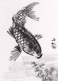 aceo original art chinese sumi e ink painting koi fish