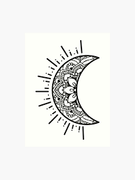 Art Doodle Half Moon Doodle Art Print