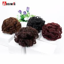 <b>AOSIWIG Short Curly</b> Synthetic <b>Chignon</b> Clip in Elastic Fake Hair ...