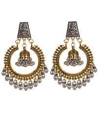 Chandbali Design Dual Tone Beaded Oxidised Silver Fashion Earrings Chandbali
