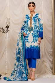 3 Piece Embroidered Suit With Cotton Net Dupatta Alkaram