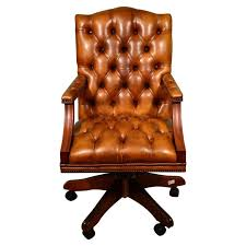 Brown leather office chair Mustang Bespoke English Handmade Gainsborough Leather Desk Chair Cognac For Sale 1stdibs Bespoke English Handmade Gainsborough Leather Desk Chair Cognac For