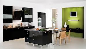 Appliances : Glossy Black Modern Kitchen Furnitures With Contrast ...