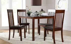 creative milton square dark wood dining table and 4 oxford chairs set ly 199 99