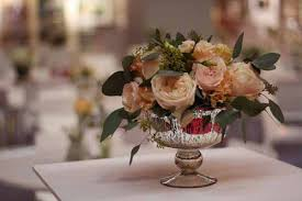 mercury silver footed vases or bowls for wedding centrepieces and table decorations