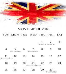 2018 november uk holiday printable calendar