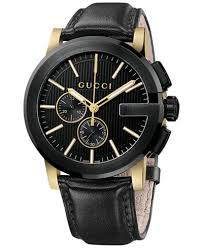 gucci watches for men. gucci unisex swiss g-chrono xl black leather strap watch 44mm ya101203 watches for men