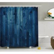 style lounge shower curtain. dark blue shower curtain, wooden planks texture image boards floor wall lumber rustic home decor style lounge curtain i