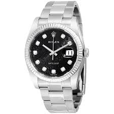 rolex datejust black jubilee diamond dial 18k white gold fluted rolex datejust black jubilee diamond dial 18k white gold fluted bezel men s watch 116234bkjdo