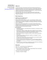 Pharmacist Resume Objective Sample Retail Pharmacist Resume Therpgmovie 55
