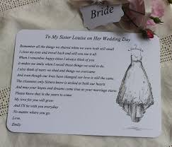 best 25 sister wedding quotes ideas on pinterest wedding poems Sentence For Wedding Card bride wedding card for sister bride to be keepsake poem personalised wording for wedding card