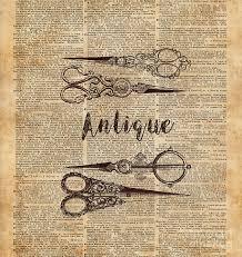 book digital art antique scissors old book page design by anna w