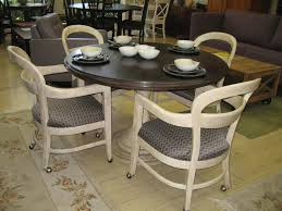 impressive dining room table and chairs with wheels with casters for dining room chairs