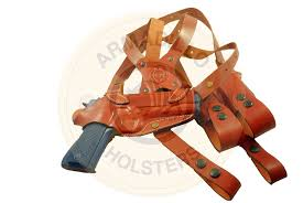 picture of tan leather horizontal shoulder holster for 1911 p2n 1911