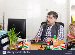 Employee Office 1 Indian Man Government Employee Office Computer Working Stock Photo