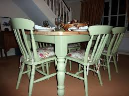 picture of pine farmhouse kitchen table with 6 chairs