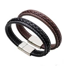 mens stainless steel leather bracelet magnetic clasp black brown bangles male wristband fashion men punk jewelry gold charms charm for charm bracelet from