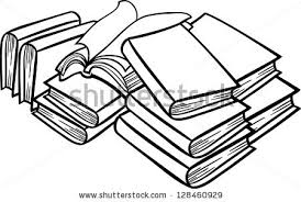 black and white cartoon vector ilration of books in a heap