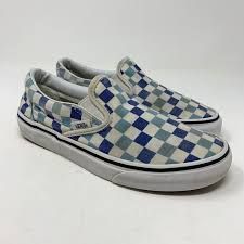 Light Blue And Dark Blue Checkered Vans Vans Slip On Checkered Canvas Skate Shoes Fair Condition