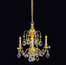 dollhouse miniature brass 3 arm crystal chandelier