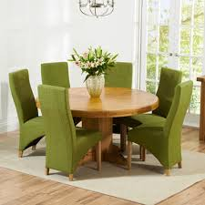 trina solid oak round dining table with 6 henry lime chairs 4366