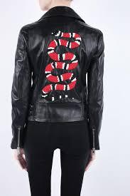 embellished leather biker jacket od gucci