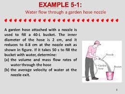 water flow through a garden hose nozzle