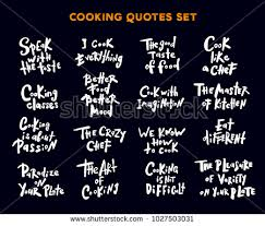 Cooking Quotes Fascinating Set Hand Written Lettering Quotes Phrases Stock Vector Royalty Free