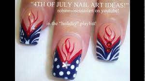 Red white and blue nail art designs - YouTube