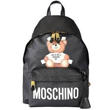 moschino cross teddy bear womens large leather backpack black