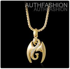 details about 18k gold plated mens double dragons crystal pendant chain necklace hiphop high q