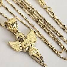 gold angel pendant box chain charm set