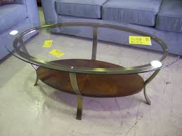 clear vintage oval glass top coffee table to complete living room design ideas