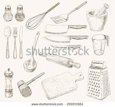 kitchen utensils drawing. Kitchen Utensils Set. Hand Drawn Kitchenware And Cutlery Drawing E