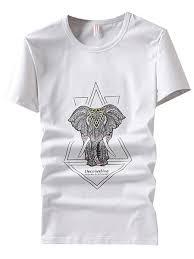 Elephant Shirt Design Mens T Shirt Personality Elephant Pattern Street Fashion Plus Size Original Design Tee